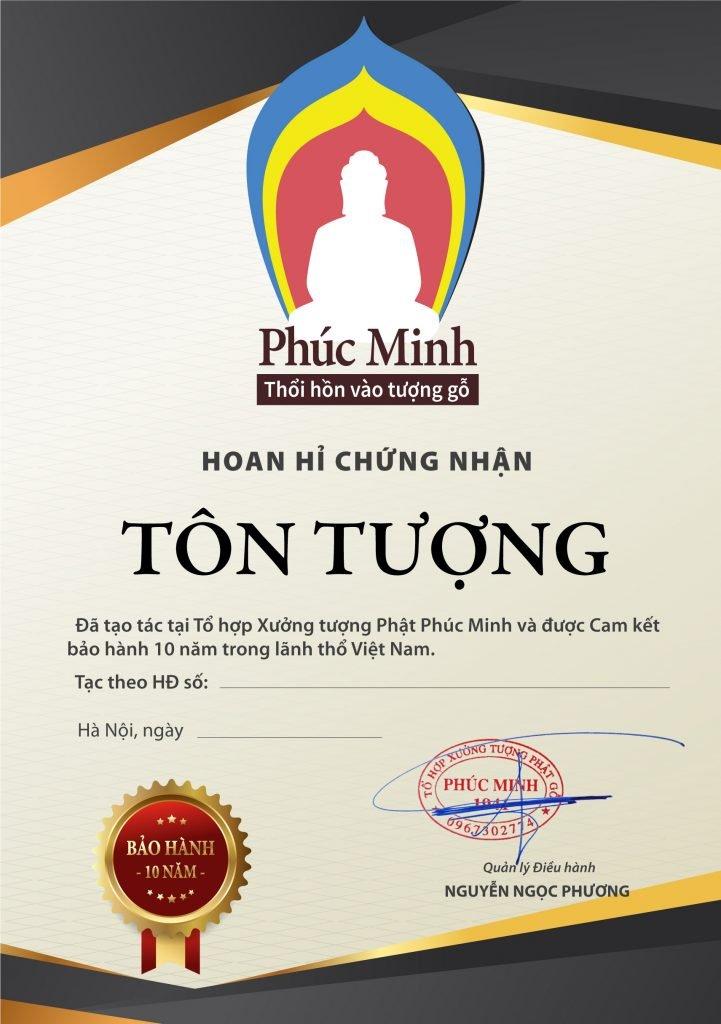 Cam kết bảo hành 10 năm tượng Phật gỗ Phúc Minh